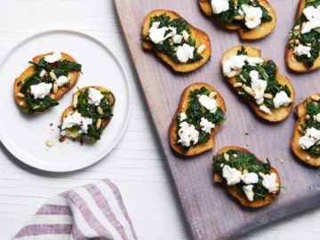 Spinach and Goat Cheese Crostini